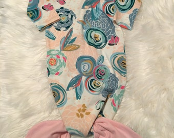 Mermaid sleep sack, baby gown,mermaid gown, sleeper, sleeping gown, chalk bloom