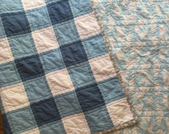 Blue and White Gingham Baby Quilt