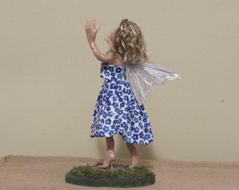 "OOAK Art Doll, Sculpted Polymer Clay Fairy, 13"" Handmade Fairy, ""GRACE"" in the Rain By Sherry Harrison"