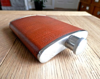 6oz Stainless Steel Hip Flask, Tan Leather Cover