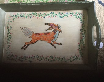 Vintage hand painted folk art wooden painted tray