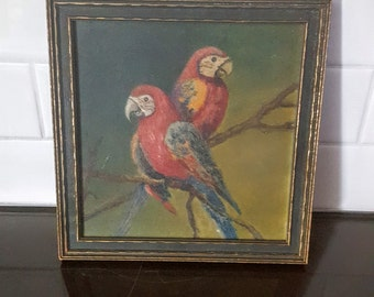 Vintage Painting of Two Perched Macaws with original Pacific Picture Frame co. Frame