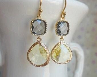 Gorgeous Yellow and Gray Glass Dangle Earrings. Color Block Earrings. Bridesmaid Earrings. Wedding Earrings. Gold Dangle Earrings.