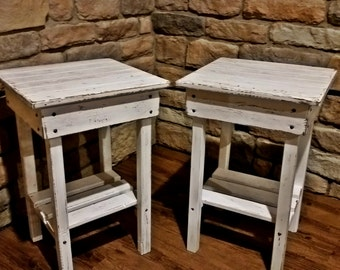 Distressed Night Stand Set /White Distressed End Table Set /Bed Side Tables/Rustic Table/Farmhouse Side Table/Vintage/Wooden Table