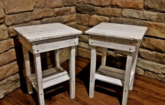 White Nightstand Side Table: Distressed Night Stand Set /White Distressed End Table Set