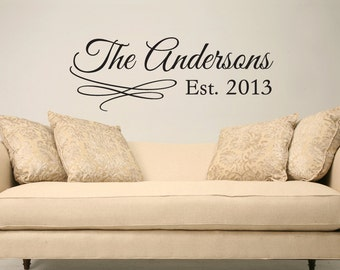 Family name and year established custom personalized name vinyl wall decal