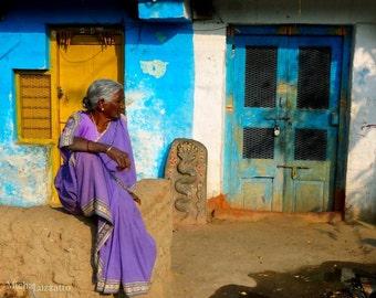 Wall Decor Print, Hampi India, Woman In Sari Saree, Purple Mustard Yellow Sky Blue, Indian Culture, Ethnic Life, Indian People, Indian Art