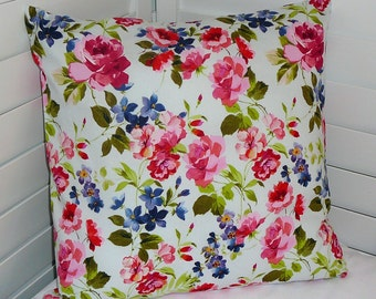 """Pillow Cover, 18"""" x 18"""" Throw Pillow Cover, Decorative Pillow Cover, Cotton Print Fabric, Floral Print, Periwinkle, Pink, Olive, Lt Blue"""