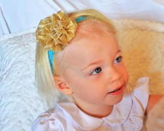 Baby Girl Headband, Gold with Turquoise or Pink