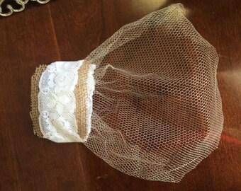 Burlap and lace Bridal Veil