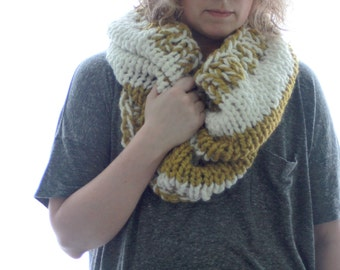 Chunky Knit Cowl, Hand Knit Neck Warmer, Mustard Yellow and Cream Scarf, Striped Cowl, The Rugby Cowl, Chunky Knit Scarf. Fall Accessory