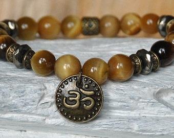 OM Yoga, Tiger's Eye Mala Bracelet, Chakra Gemstone Bracelet, Boho Bracelet,Meditation Healing Buddha Bracelet, Japa Mala, Zen Bracelet,