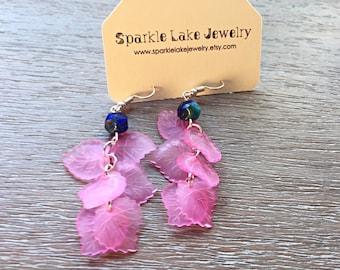 Cobalt & Pink Leaf Flutter Earrings