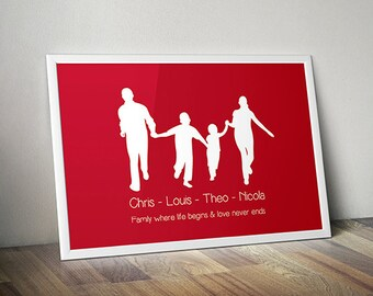 Family Silhouette - Custom Family Silhouette Portrait