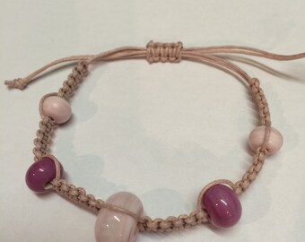 Macrame Bracelet with Lampwork Glass Beads