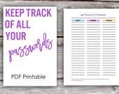 Printable Password Keeper Worksheet