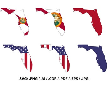 Florida State map with flag, outline, Florida flag, state decor, svg files, png Files, Vector art, Design Space, Silhouette