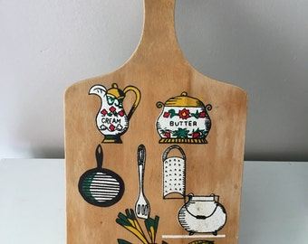 Vintage Wood Cutting Board Kitschy Retro Hand painted 1970's