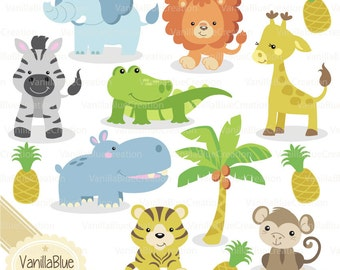 Clipart jungle animals, elephant, giraffe, monkey, crocodile, zebra, lion, tiger, hippopotamus, pineapple, palm tree