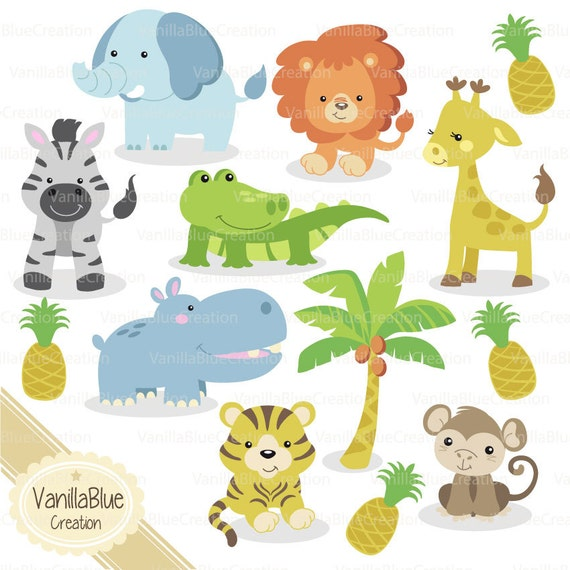 Clipart jungle animals elephant giraffe monkey crocodile