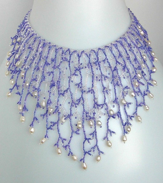 Pattern seed beaded necklace netting stitch tutorial