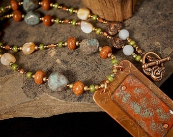 Necklace with Enameled Pendant and Etched Copper