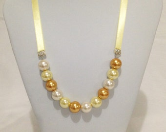Yellow Pearl Ribbon Necklace