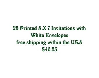 Printing Services, 25 printed invites with envelopes