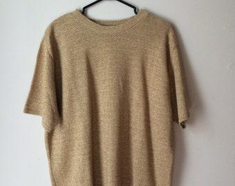 Gold knit top, 70s, loose fit, large-xlarge *vintage*
