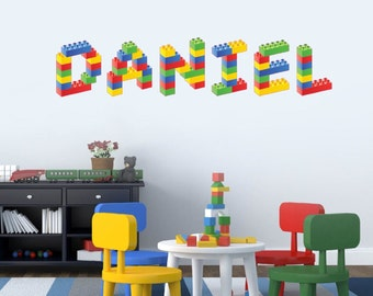 Personalised Name in Lego Building Blocks Childrens Bedroom Wall Sticker Decal, EACH LETTER 12 inches Tall, Personalised to YOUR name