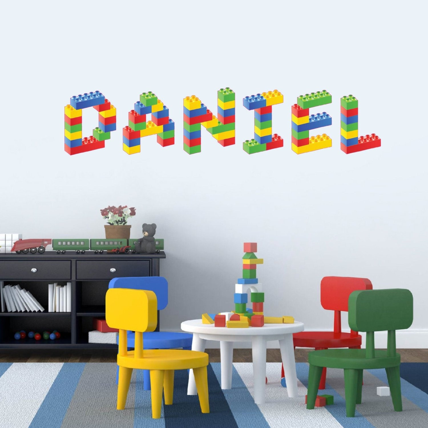 Personalised name in lego building blocks childrens bedroom - Lego wandtattoo ...