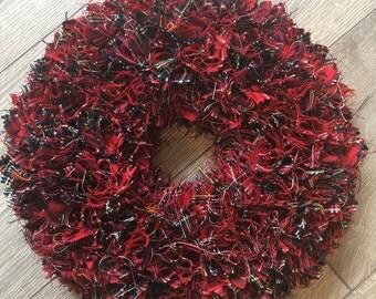 Royal Stewart Tartan  Fabric Rag Wreath
