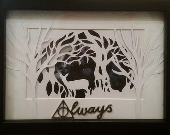 """Framed """"Always"""" hand cut papercraft"""