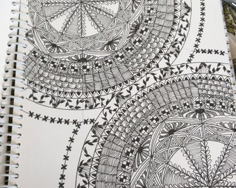 Black and white intricate mandala