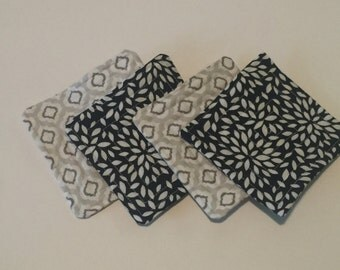 Fabric Coasters Set of 4 - Navy and Grey