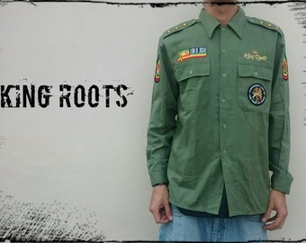 "KING roots-Rasta Military shirt Personalized ""Jah Army"". Attention, specify the desired size!"
