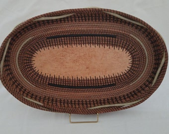 Basket made with Pine Needles - Birds Eye Maple wood tray - Brown & Yellow - Hand stitched recycle Center Piece - Gift Florida - 275.00