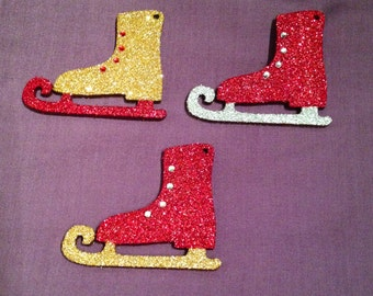 Wooden Hand decorated Ice Skate Christmas Decorations