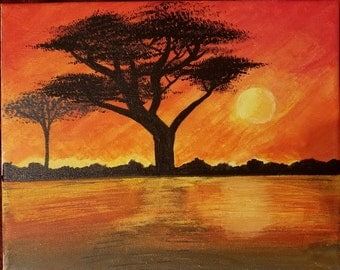 Fire Sunset Painting