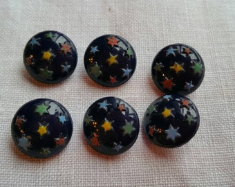 Delicate glass vintage buttons x 6  Star detail on navy blue. 1.3 cm Sewing/Crochet/shank buttons/star pattern/clothing/round/craft/knitting