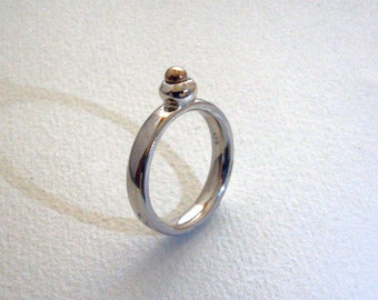 925 sterling silver with 585 ring gold ball