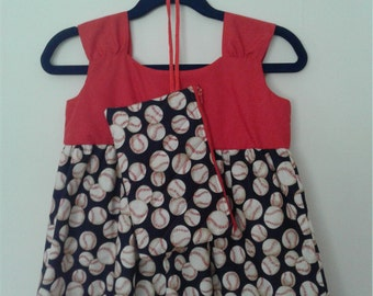 Infant Dress and satchel with baseball pattern: Size 3-6 mos.