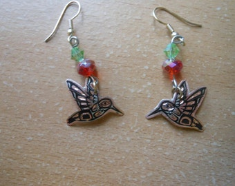 copper and crystal hummingbird earrings