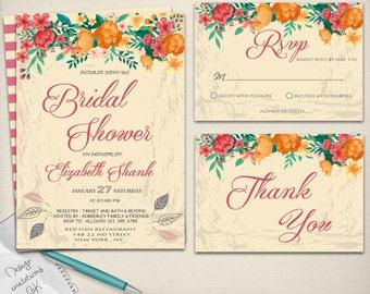 Rustic Bridal Shower Invitation,Wedding Shower Invitation,Bridal Shower Invite,Vintage Bridal Shower Invite,Floral Bridal Shower Invitations