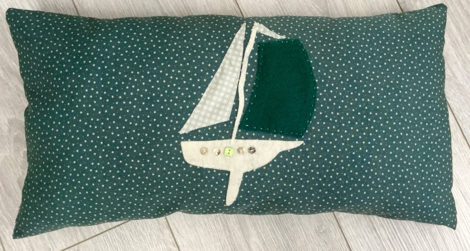 Decorative Pillows For Yachts : Boat Decorative Pillow Hand Stitched Applique Cushion by CosyCove