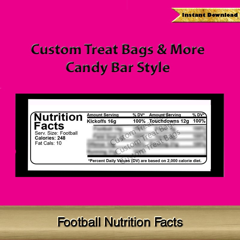 Football Nutrition Facts Label For Custom Candy Bar Wrapper