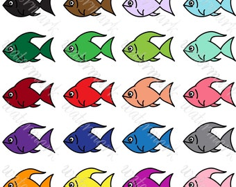 Fish clipart Bright fish digital Clipart fish PNG fish clip art Marine clipart rainbow fish overlay. Instant download