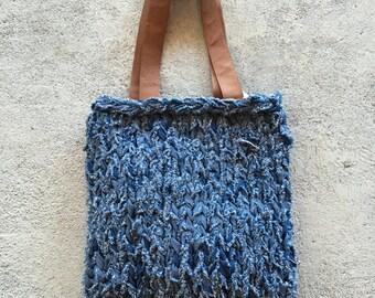 Knit Tote Bag - Denim