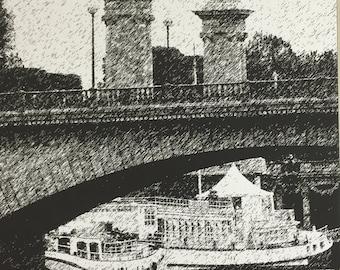 Paris Bridge Scene in Pen/Ink style