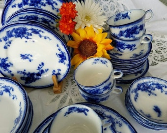 "HOLD FOR K.M. - Flow Blue China - 48 Pcs - 6 Serving Pcs - Vintage W. H. Grindley  – ""Marechal Neil"" - England"
